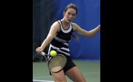 Abby Ecker made a backhand play during the Section 5A championship match last Thursday.