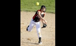 Freshman shortstop Alyah Abrahamson fired across the diamond to record an out late in the second game against LPGE.