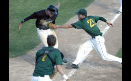 Predators pitcher Logan Riedel was able to tag the Sauk Centre runner attempting to score on a squeeze bunt.