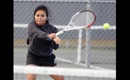 Lupita Mora placed second in the third singles conference tournament last Saturday.