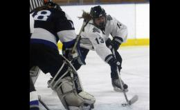 Freshman Ally Ecker was able to make a play on the puck and flipped in a third period goal in Prairie Centre's playoff win over Morris/Benson.