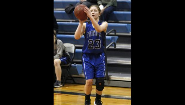 Carolyn Dinkel matched her teammate Maddie Zastrow's school record of seven three-pointers during LPGE's win over Swanville last Thursday.