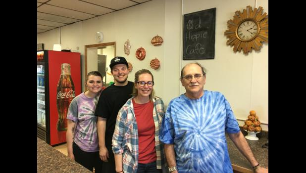 Ashlee Helseth, Aiden Meikamp, Sara Revermann and Dennis Kreemer at the Old Hippie Cafe in Grey Eagle.