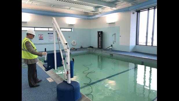 The jewel of the new wellness center is the therapy pool, which was filled and prepped last week.