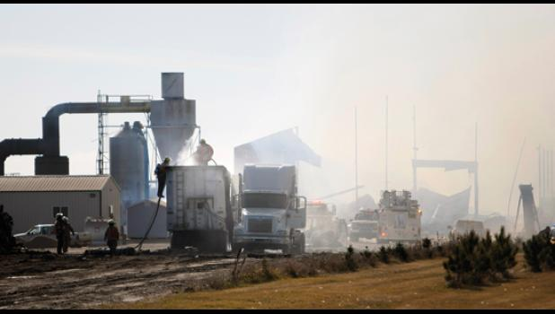 Fireman work to extinguish a fire at the Jennie-O shaving plant south of Long Prairie last week.