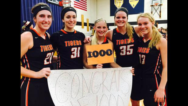 All five Tigers starters have now surpassed 1,000 career points after senior point guard Kale Knutson accomplished the feat last Thursday night against Upsala. Pictured from left: seniors Paige Callahan, Crystal Pearson, Kale Knutson, Kendra Buchta, and junior Quinn Kircher.