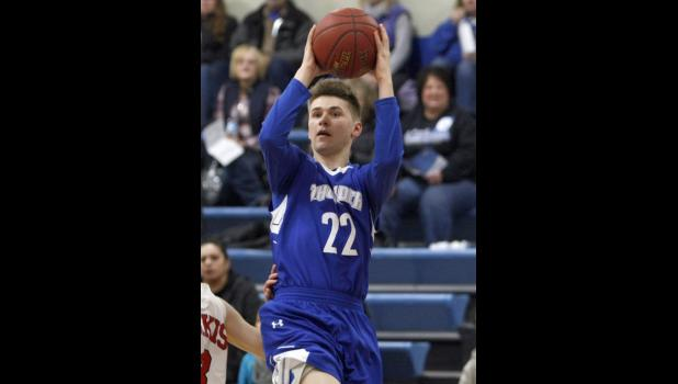 Brandon Fossland pulled up for a shot in the first half against Osakis. The sophomore guard finished with five points in the game.