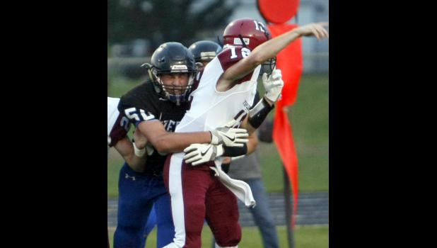 Senior Keegan Cavallero was able to put pressure on the quarterback on a pass attempt.