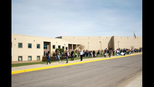 Students prepare to leave school for the day from the Long Prairie-Grey Eagle Secondary School in a recent file photo. Under the state's current guidelines for returning to in-person instruction, all Todd County schools will be returning to in-person instruction on Sept. 8.