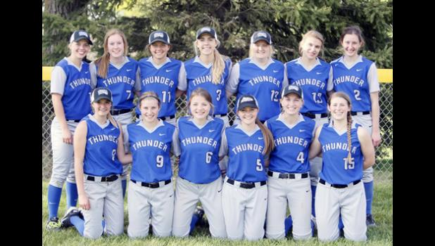 Thunder softball won the Prairie Conference, finishing one game ahead of Osakis and Royalton. Back row from left: Angela Hanson, Rachel Middendorf, Ally Ecker, Raelyn Miller, Kim Pachan, Kayla Drevlow, and Katrina Blommel. Front row from left: Riley Steinmetz, Tristen Marcyes, Mackenzie Och, Moriah Cebulla, Emma Liebsch, and Kayla Bense.