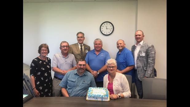 CentraCare-Long Prairie recently recognized its retiring operating committee members. Pictured are in back, left to right: Mary Schmidt, Chuck Eldred, Craig Broman, Tom Sellnow, David Petersen, Dan Swenson. In front, left to right: Pete Berscheit and Sally Hanson.