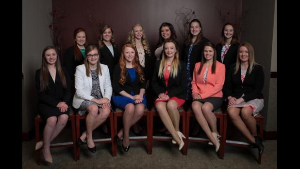 This year's Princess Kay finalists include, in back row, from left: Katherine Gathje, Korissa Lindquist, Laura Grimm, Calissa Lubben, Ashley Maus, Melendy Miller. Front row, from left: Julia Mullenbach, Rebekka Paskewitz, Amy Broll, Megan Hollermann, Catherine Thompson, Blaize Dankers.