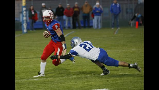 USA senior runningback Kyle Lange exploded for 322 yards and four touchdowns to lead the Patriots over BBE.