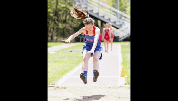 Rebekah Muhlenkamp had a good day on the track, taking first in the 800 and eighth in the long jump.