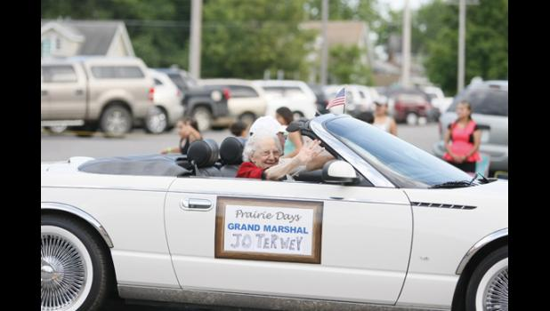 Jo Terwey, who recently turned 100-years-old, was this year's Grand Marshal in the Prairie Days parade.