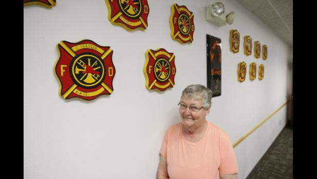 Paulette Johnson has been making and painting shields for the Long Prairie Fire Department members for over 35 years and will be retiring from her volunteer endeavor.