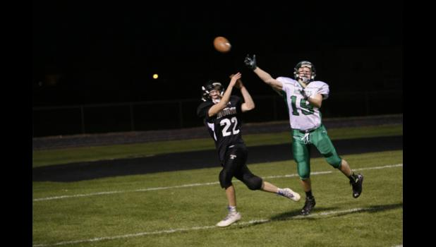 LPGE's Matt Roe had a pass deflected away from him by Frazee's Nate Nolan late in the fourth quarter.
