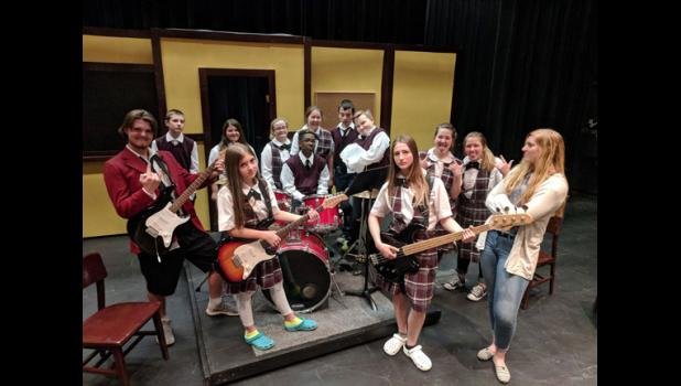 "The cast in the upcoming play ""School of Rock"" include, from left, Andrew Prokott, Micah Ripplinger, Anna Blonigen, Hannah Luedke, Jessica Lange, Braedan Rene, Paige Gerads, Dylan Yurczyk, Jacob Lezer, Molly Leners, Emily Blonigen, Gracie George, Stefani Pohlmann"
