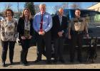Kathy Langer, Director, Todd-Wadena Community Corrections; Sarah Urbach, Supervisor, Todd-Wadena Community Corrections; Honorable Doug Clark, District Court Judge, Wadena County; Honorable Daniel Benson, District Court Judge, Todd County; Deputy Troy Wangsness, Wadena County Sheriff's Office; and Nitro, K-9 Partner, Wadena County Sheriff's Office.