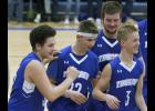 From left: Matthew Zeipelt, Brandon Fossland, Ian Langford, and Jacob Middendorf celebrated after the final buzzer sounded in Friday's win over St. John's Prep.