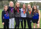 Six LPGE athletes qualified for the Section 6A meet. From left: Caroline Kuehne, Megan Och, Nora Gamradt, Brianna Young, Kaitlyn Proell, and Ava Determan.