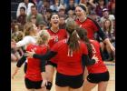 The Cardinals celebrated after rallying for a 15-11 win in the fifth set of last Thursday's match.